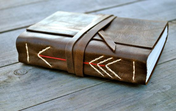 simple recycled leather journal with arrow on Etsy, $60.00