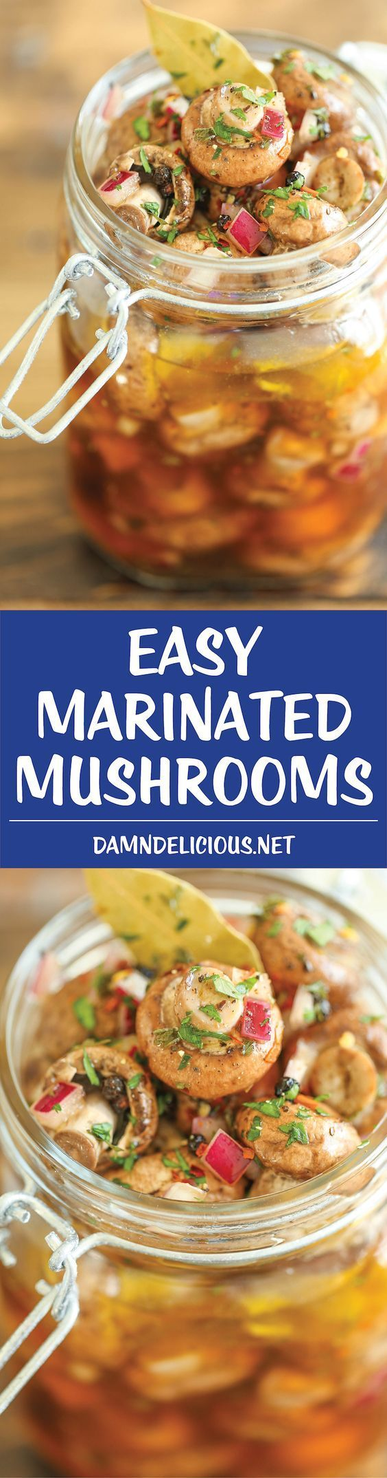 Easy Marinated Mushrooms - Quick, no-fuss with 10 min prep. You can even make these the night before! Perfect to feed a large crowd, and so irresistible!