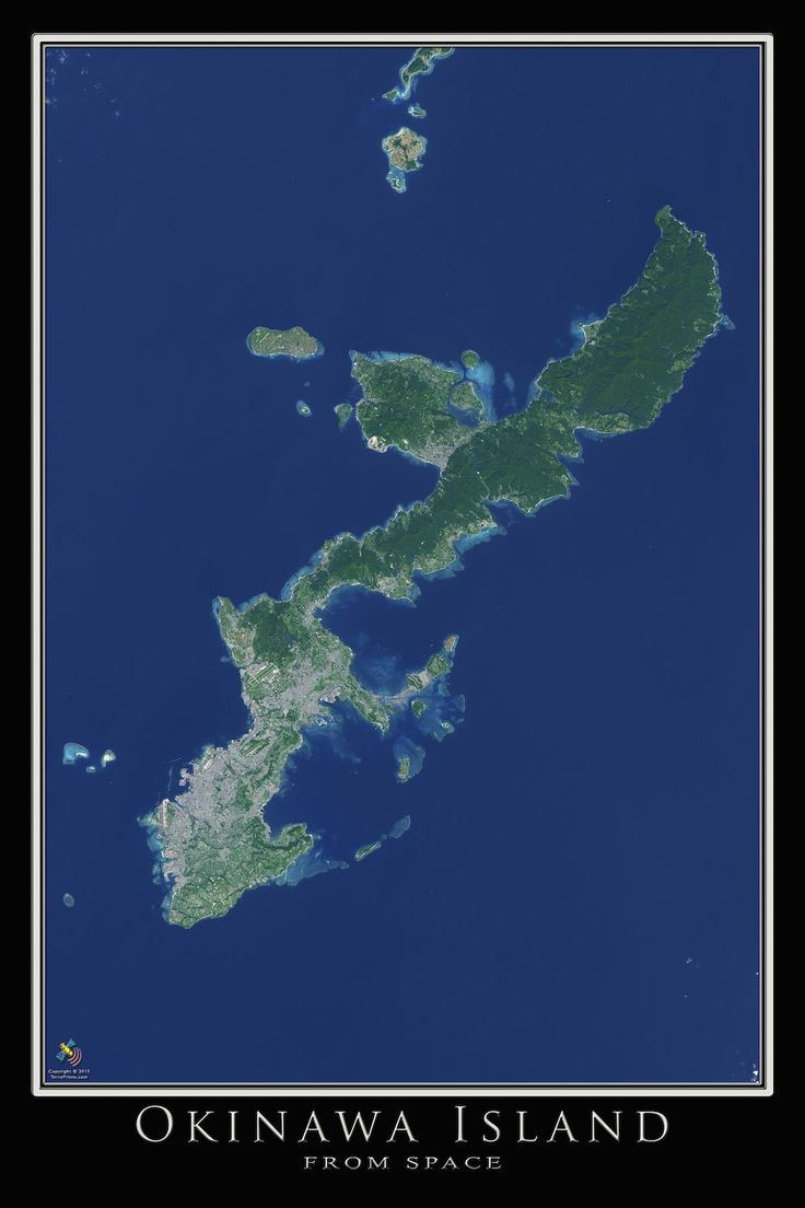 Okinawa Island Japan Satellite Art Poster