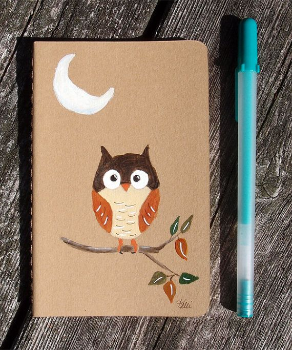 Owl Hand Painted Notebook  Cute  Dream by KelliMcNicholsArt