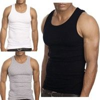 Wish | Big Man Muscle Men Top Quality 100% Premium Cotton A-Shirt Beater Ribbed Tank Top Vest