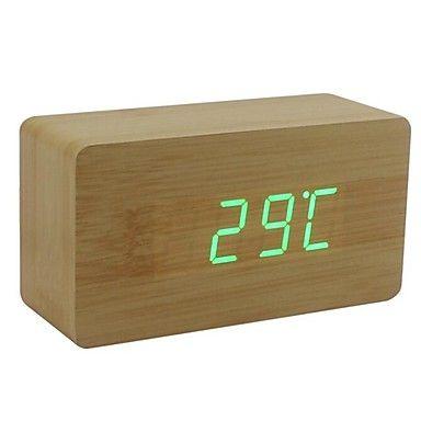 Shibaojia ® LED Clock Wooden Clock Sound Control Fasionable Design M9 – USD $ 19.99