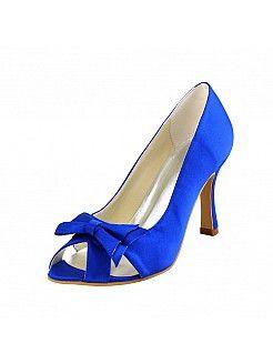 Заглянуть пальцев высокий каблук свадебные босоножки в королевский синий с атлас поклон - RUB 5042,52руб.