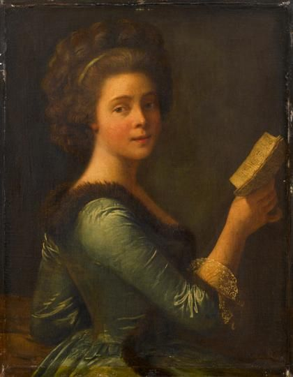 MANNER OF ROSE ADELAÏDE-DUCREUX (french 1761-1802) A YOUNG WOMAN HOLDING A BOOK inscribed 'Mlle Duthe by Vigée Le Brun'