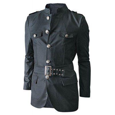 Just US$29.23, buy Gray Multi-Pocket Epaulet and Belt Design Stand Collar Long Sleeves Jacket For Men online shopping at GearBest.com Mobile.