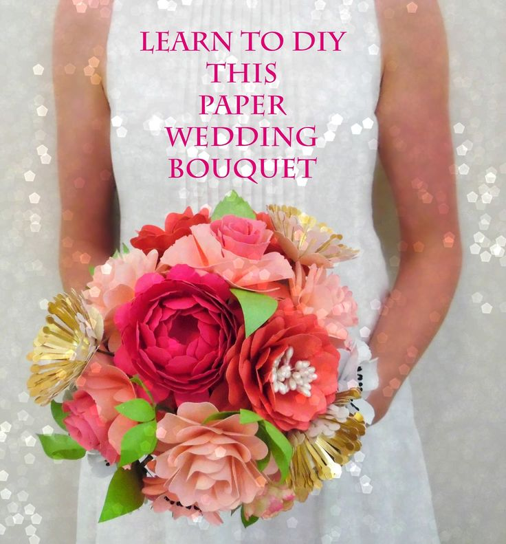 Do you want to learn to DIY your own paper bouquet? If you love crafting then this is for you! Bridal bouquet- download printable and SVG templates. #weddings