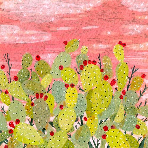 : Prickly Pears, Cactus Art, Palms Desert, Pink Sky, Becca Stadtland, Books Illustrations, Mosaics Patterns, Painting, Beccastadtland