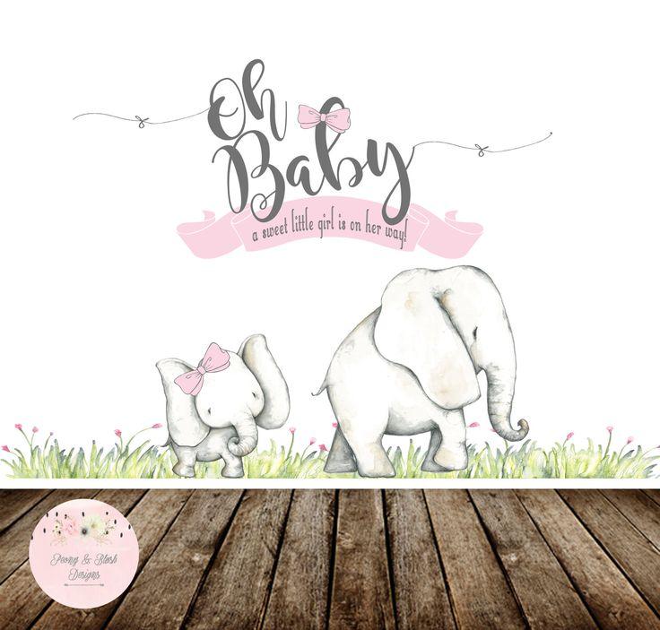Invitaciones Baby Shower Elefante ~ Digital oh baby shower backdrop elephant
