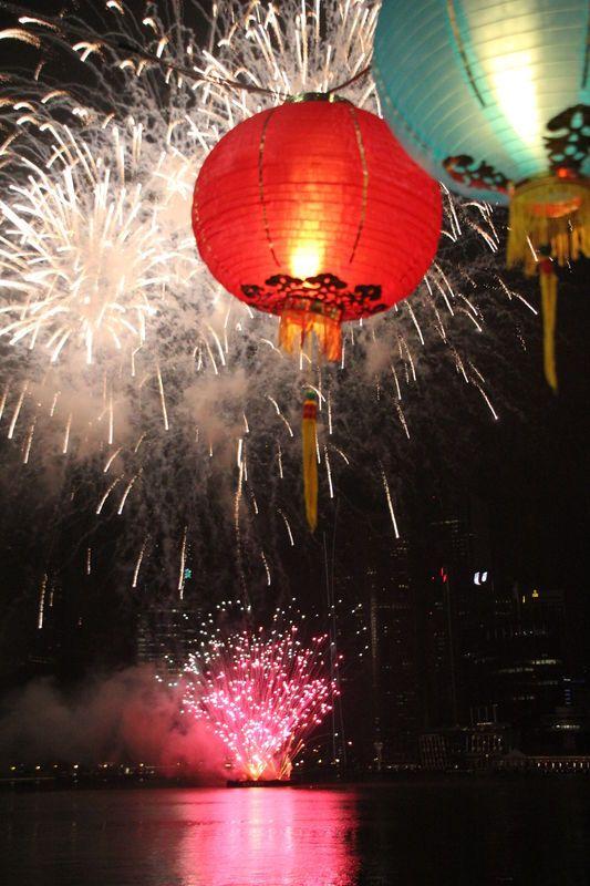 chinese lanterns and firework