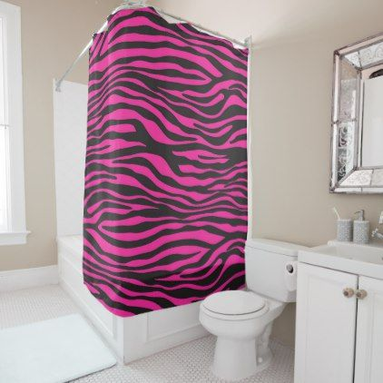Pink And Black Zebra Print Shower Curtain Zazzle Com Striped