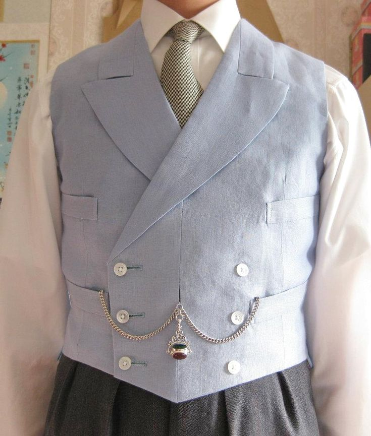 Pointed Double Breasted Morning Waistcoat With Albert