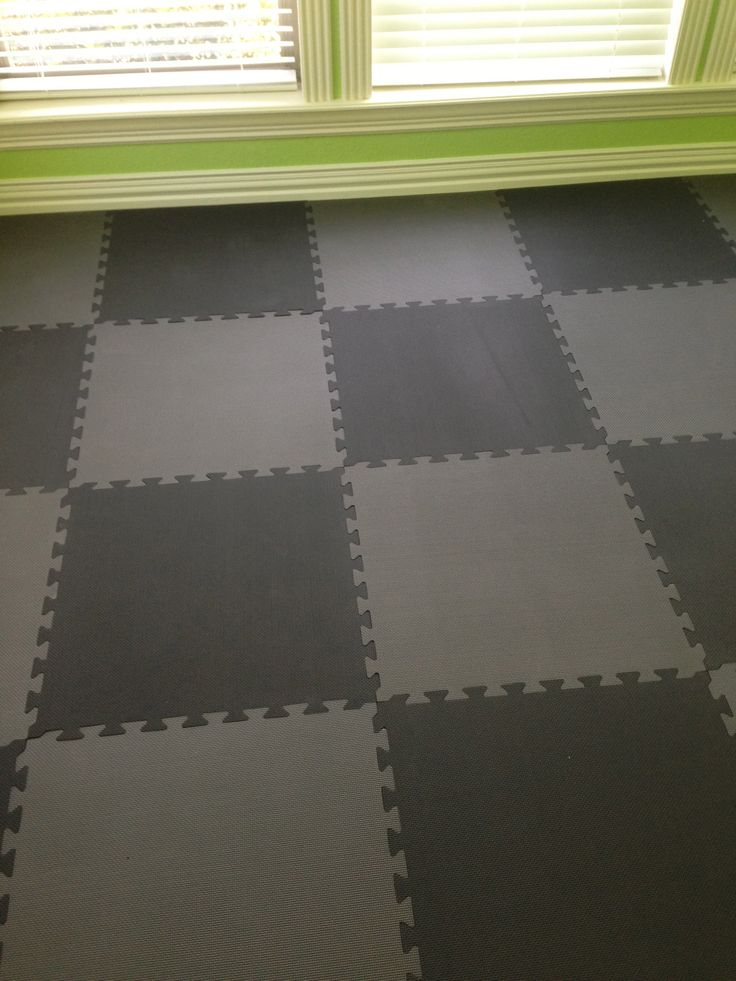 Exercise Room flooring - Soft Tiles black and charcoal grey checkerboard plus Energize Green walls!
