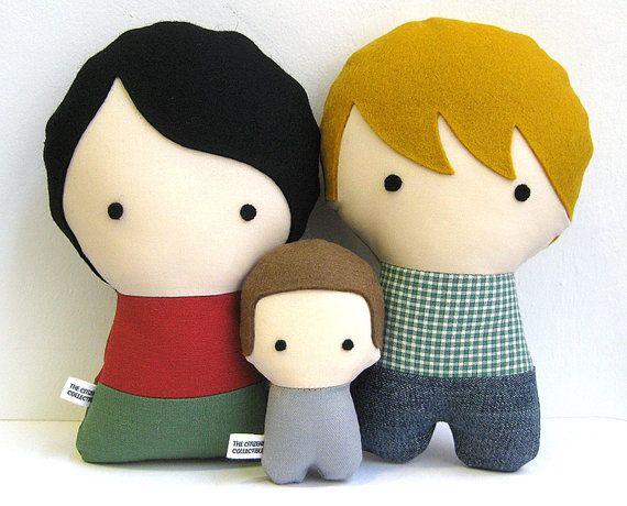 la familia personalizada en muñecos de tela