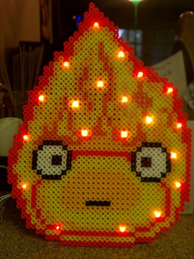 Calcifer bead sprite with mini lights :3 by blackarach