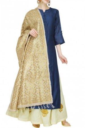 Royal blue chanderi kurta and sharara set