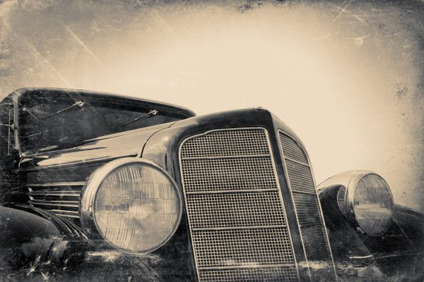 fragment of old car, vintage stylized