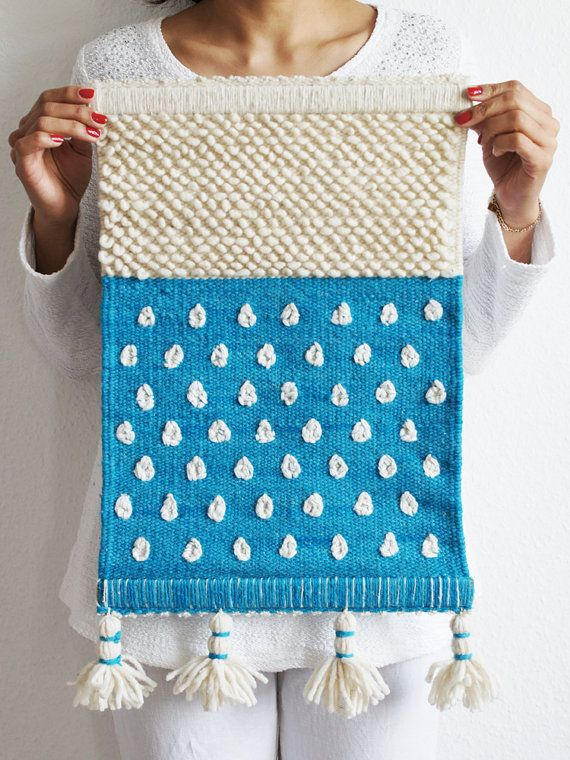 Arte en Lana Tejido a mano de lana para la pared por LoteriaDesign