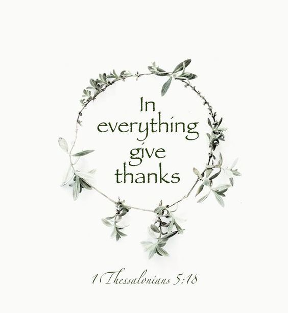 In everything give thanks.   1 Thessalonians 5:18