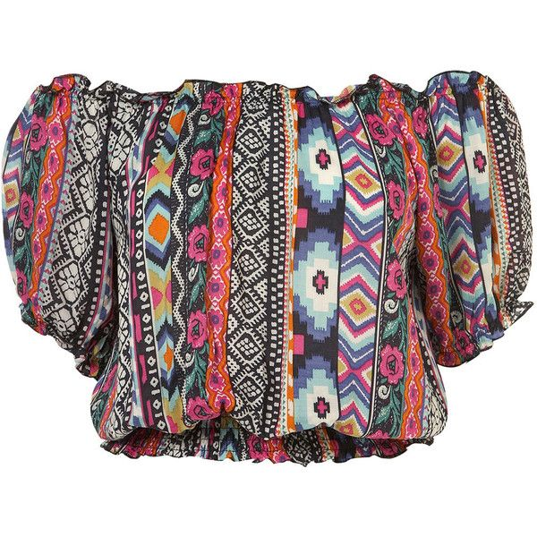 Tribal Gypsy Top By Rare** ($72) ❤ liked on Polyvore featuring tops, shirts, crop top, blusas, women, rayon shirts, crop shirts, rayon tops and tribal shirt