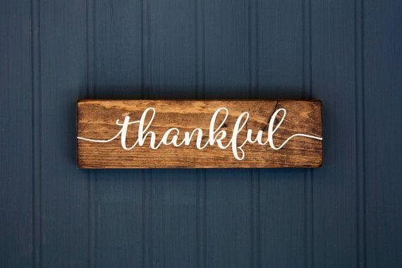 "Fall Decor Sign - Thankful - Rustic Wood Sign - Thanksgiving Decor - Give Thanks - Gratitude - Home - Bridesmaid Gift - Farmhouse - 9""x2.5"""