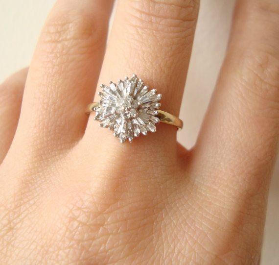 1950's Baguette Diamond Starburst Ring, Vintage Diamond Flower Ring, 9k Gold Size US 7.75