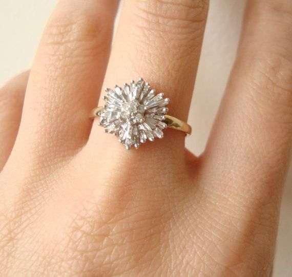 1950's Baguette Diamond Starburst Ring, Vintage Diamond Flower Ring, 9k Gold Size US 7.75