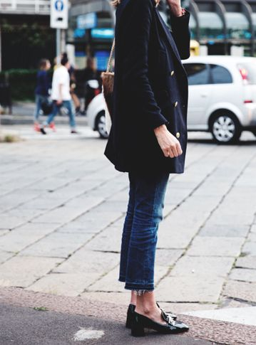 peacoat, crops and block heel loafer. GREY & SCOUT