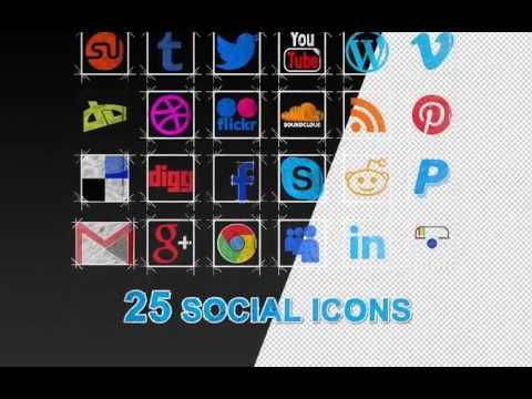 30 Social Media Icons Pack + Button is a perfect After Effect Template to Create a Logo Reveal for your social media account .