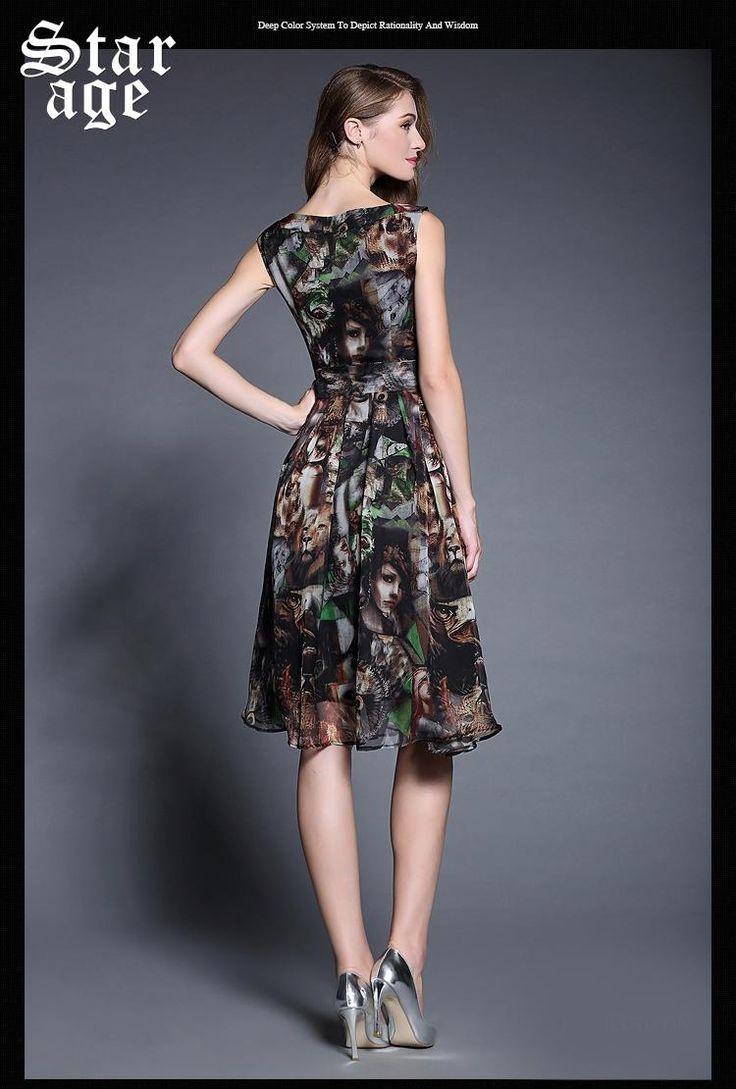 Платье шифон без рукавов контейнер лето, m xxl богемный женщины знаки принт дамы большой размер длинная платья 8529 купить на AliExpress