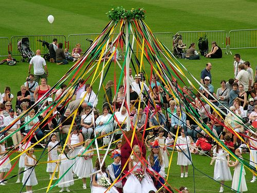 May pole - May Day is a ancient Spring festival replacing the pagan celebrations of Beltane (Celtic) and Walpurgis Night (Germanic).