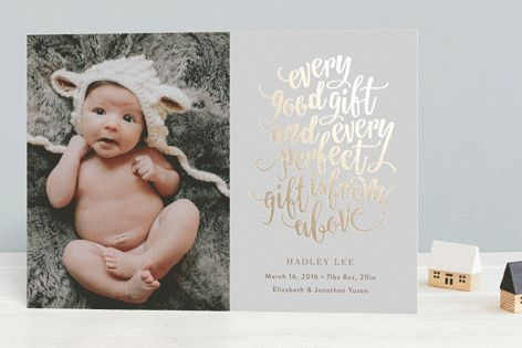 Perfect Gift Foil-Pressed Birth Announcements by Phrosne Ras at minted.com #merry #happyholidays #foil #gold #rosegold #merrychristmas #photocards #minted #holidayscards #cards #christmas #holiday #happynewyear #cheers #love #merrybright #religious #bright #joy #clean #simple #modern #elegant #glitter