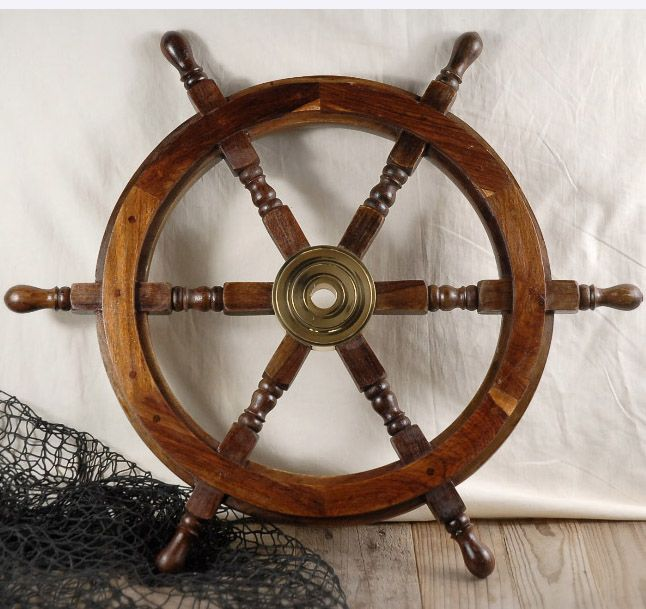 """24"""" Wood and Brass Ships Wheel $40; for Pirate portion of Neverland room."""