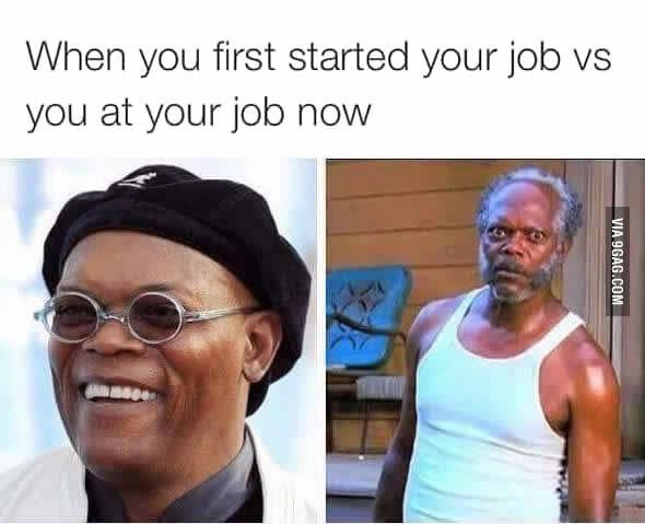 When you first started your job versus you at your job now