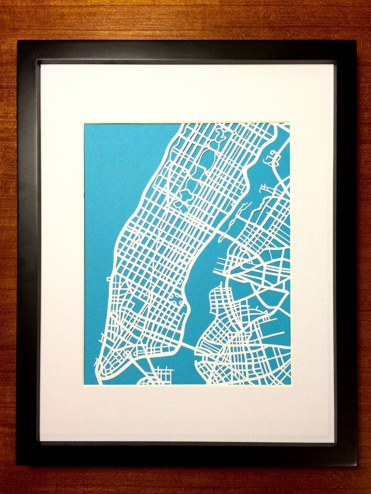 Hand Cut paper map of Manhattan, NYC by CUTdesignsrt on Etsy