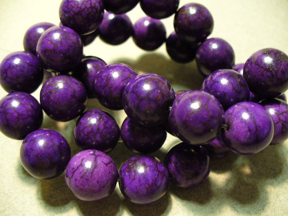 10 11MM Magnesite Purple Round Beads by ExtremeBeadOverload, $2.40