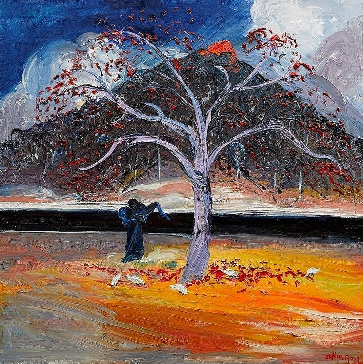Arthur Boyd (1920-1999) - Mother and Child Under the Flame Tree 1993.