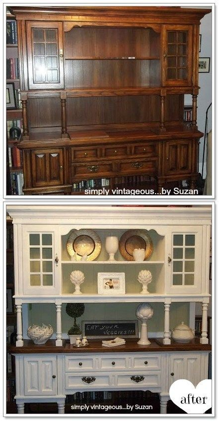 Before and After Country Style Cabinet Transformation.