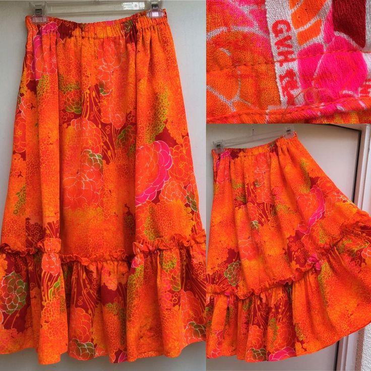 Vintage GVH Hawaii Print Hawaiian Skirt Bright Multicolor Hawaiian  | eBay