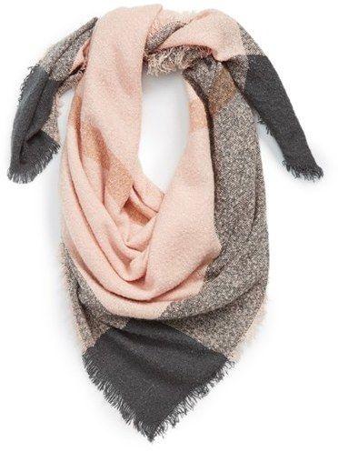 Blush light pink & gray square blanket scarf.