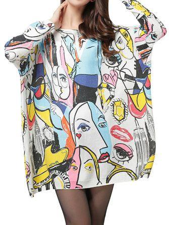 #Banggood Женщин с длинными рукавами свободные пуловеры граффити печать вязаный свитер платье  (1084460) #SuperDeals