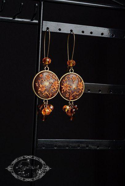 polymer clay filigree aplique technique, gold flowers, floral earrings, circle earrings, filigree flower earrings, handmade, aplique, bronze fittings