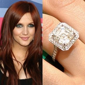 Ashlee Simpsons Engagement Ring From Pete Wendt Features A Large 4 Carat Asscher Cut Diamond