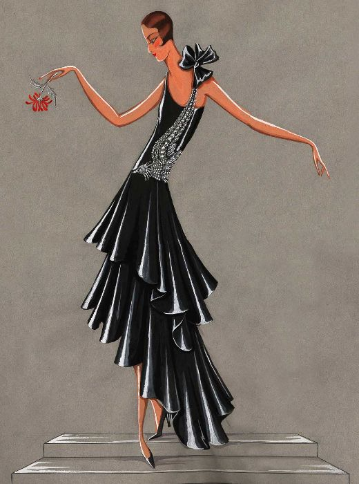 Lanvin exhibition: one of the sketches of #JeanneLanvin #BeauOiseau