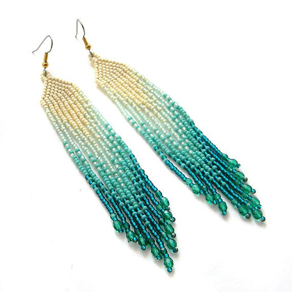 Turquoise and cream  seed bead earrings   beadwork by Anabel27shop,