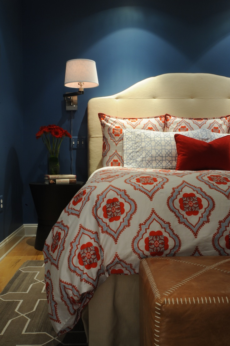 Dramatic blue master bedroom designed by bossy color for Dramatic beds