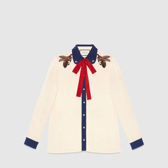 Gucci Camisa de seda bordada
