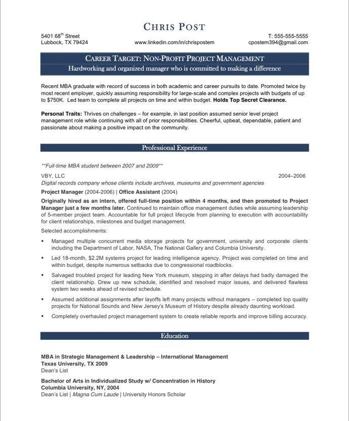 Sample Pmp Resume Project Management Resume Template Project - management list sample