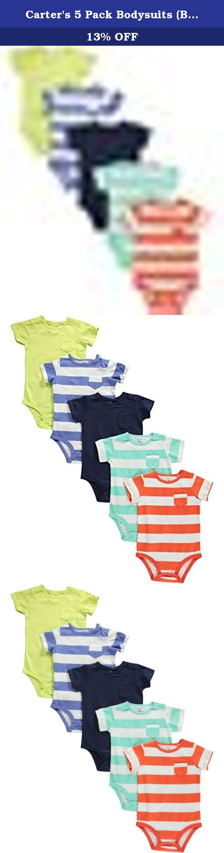 Carter's 5 Pack Bodysuits (Baby) - Stripes/Solids-24 Months. 5 Pack Bodysuits (Baby) - Stripes/Solids Pack includes 5 short-sleeve coordinating bodysuits. Nickel-free snaps on reinforced panel last through all those diaper changes. Expandable shoulders slip easily over little ears. Zoom in to see pocket details and bold stripes. Features: Carter's is the leading brand of children's clothing, gifts and accessories in America, selling more than 10 products for every child born in the U.S....