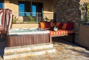 Transitional Hot Tub with exterior tile floors, Fence, Raised beds