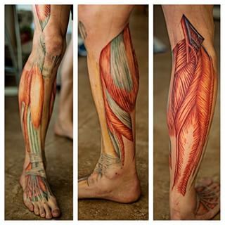 A muscle tattoo is one way to show your inner beauty. | 23 Insanely Intricate Leg Sleeve Tattoos